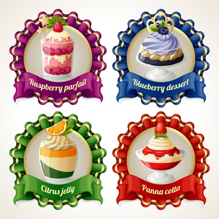 panna cotta: Decorative sweets ribbon banners set with raspberry parfait blueberry dessert isolated vector illustration