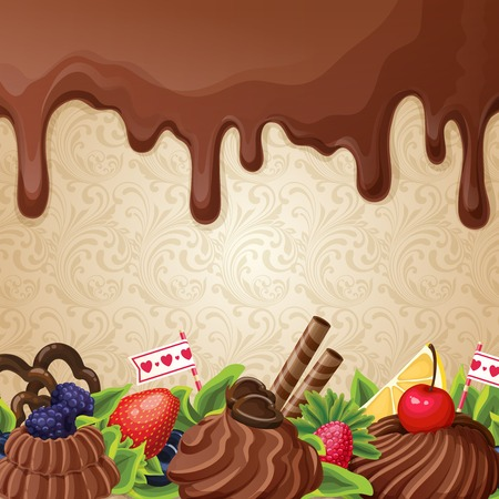 chocolate syrup: Sweets dessert background with milk chocolate syrup cream and ornament vector illustration