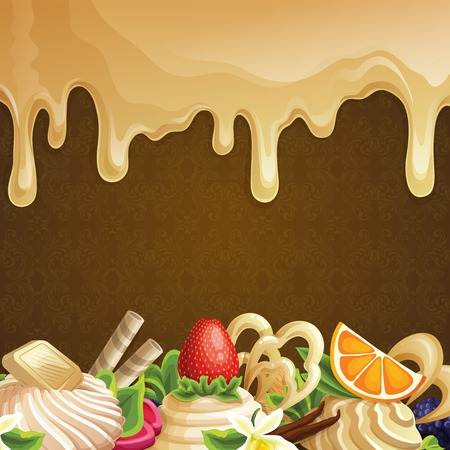 chocolate syrup: Sweets dessert background with caramel syrup white chocolate and decoration vector illustration