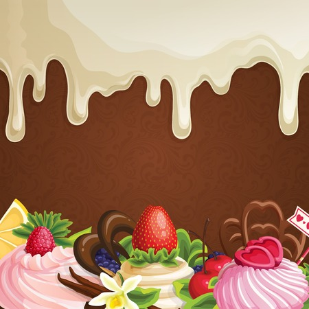 chocolate syrup: Sweets dessert background with white chocolate syrup fruits berries and decoration vector illustration