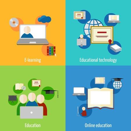 Online education e-learning flat webinar digital school icons set isolated vector illustration Vector