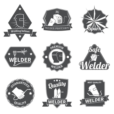 Welder industry construction work repair and manufacturing instruments labels set isolated vector illustration Vector