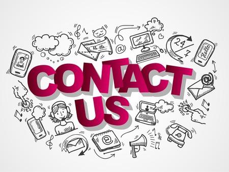 Póngase en contacto con alguna de las tiendas de telefonía de apoyo de usuario composición iconos croquis ilustración vectorial Foto de archivo - 28799326
