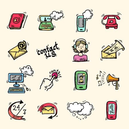 call us: Contact us speech bubbles communication help chat icons set isolated vector illustration.