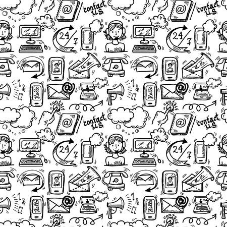 Neem contact met ons klantenservice schets doodle pictogrammen naadloze patroon vector illustratie