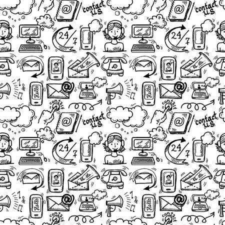 Contact us customer service sketch doodle icons seamless pattern vector illustration Illustration