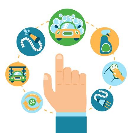 autolavaggio: Autolavaggio automobile concetto di servizio di pulizia con illustrazione vettoriale mano umana
