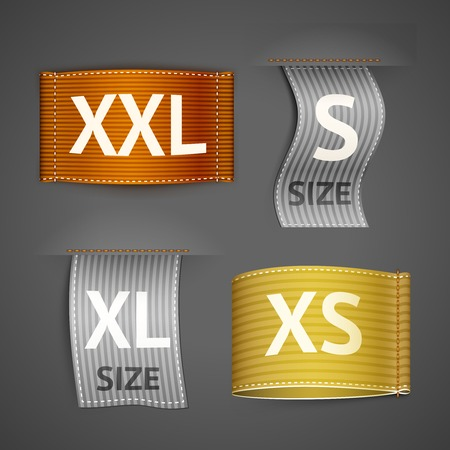 Clothing size trend sale colored label ribbon set isolated vector illustration