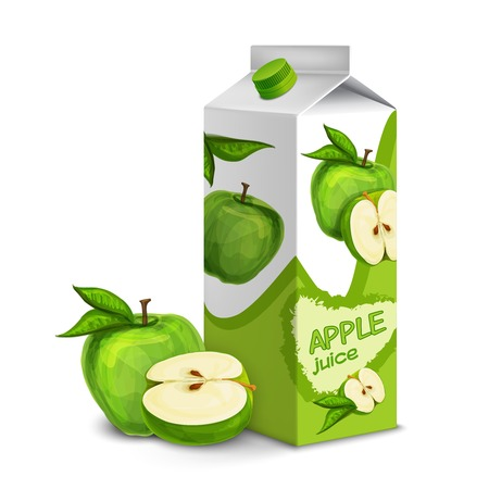 Juice carton box pack 3d with whole and cut apple isolated vector illustration Vector