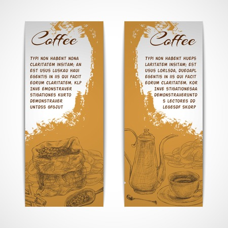 Two vertical retro espresso coffee set collection banners with beans grinder and coffeepot doodle handdrawn vector illustration Vector