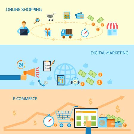 E-commerce banners set van online winkelen digitale marketing geïsoleerde vector illustratie Stock Illustratie