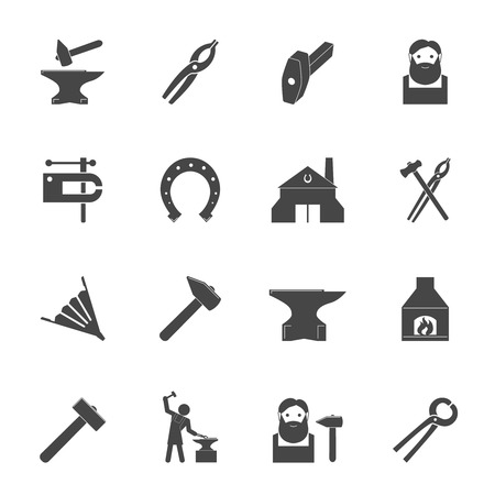 vise: Decorative blacksmith shop anvil vise tools graphic icons set isolated vector illustration