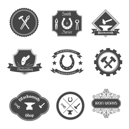 sledgehammer: Blacksmith shop graphic labels collection set with ironwork gates decorative ornamental wrought iron fences isolated vector illustration