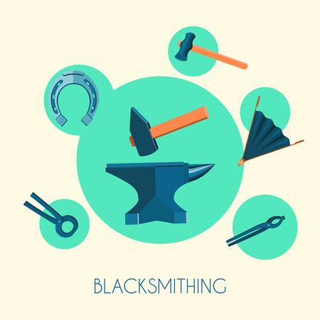 metallurgy: Decorative blacksmith anvil hammer bellows tongs essential metallurgy iron tools emblems advertisement poster print flat vector illustration
