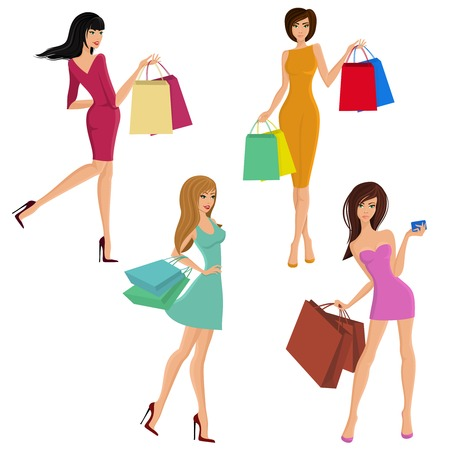 Shopping girl young sexy female figures with fashion bags isolated vector illustration Vector