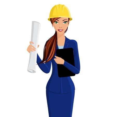 architect: Hermosa ingeniero dama mujer de negocios en el casco aislado en el fondo blanco ilustración vectorial