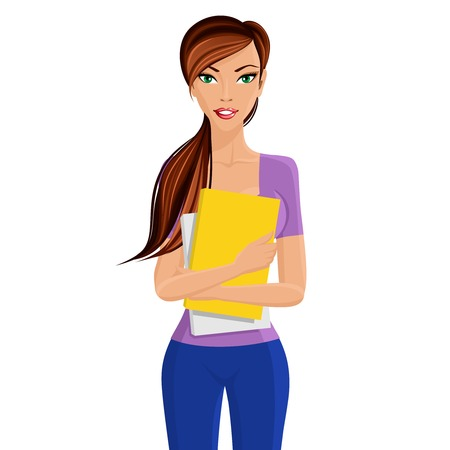 Joven elegante chica hermosa estudiante de pie sosteniendo la carpeta documentos de estudio amarillas en las manos aisladas ilustración vectorial