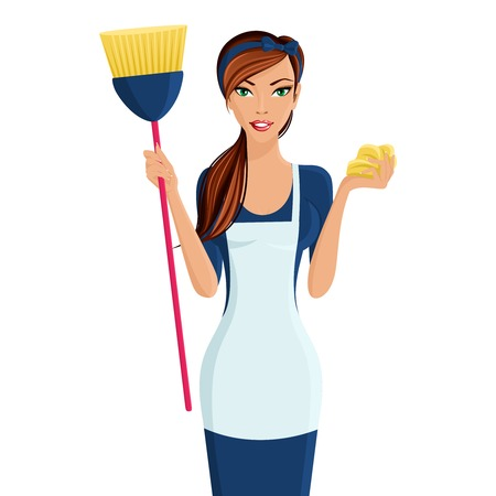 charwoman: Young beautiful cleaning lady professional standing in apron with broom and dustcloth in hands isolated vector illustration