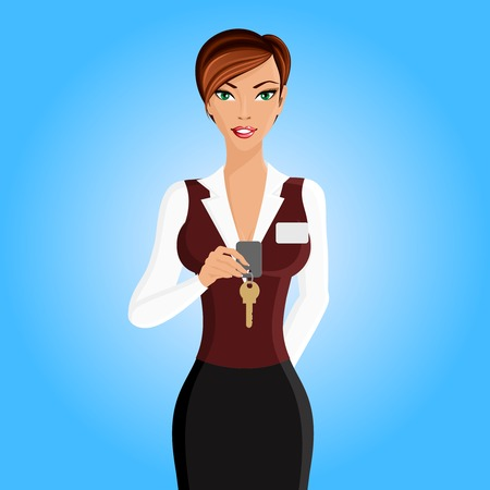 receptionists: Beautiful woman in hotel receptionist uniform with key portrait isolated on white background vector illustration