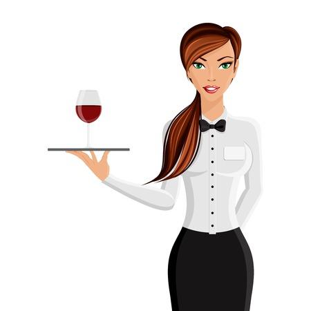白い背景ベクトル イラスト上に分離されてトレイとワインのガラスの肖像画にレストラン ・ ウエイターで陽気なセクシーな女の子