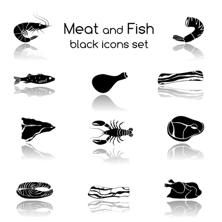 crab meat: Food fish and meat black icons collection of crab salmon pork steak isolated vector illustration Illustration
