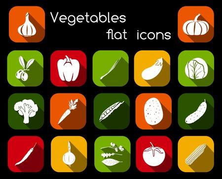 チャイブ: オリーブ コショウ チャイブ キャベツ分離ベクトル イラストの野菜有機食品フラット アイコン セット。