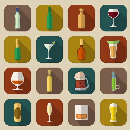 shots alcohol: Alcohol drinks bottles and glass icons flat set of tequila vermouth whiskey isolated vector illustration