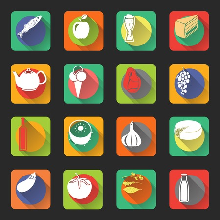 garlic bread: Food flat icons set of fish drink bottles and vegetables isolated vector illustration