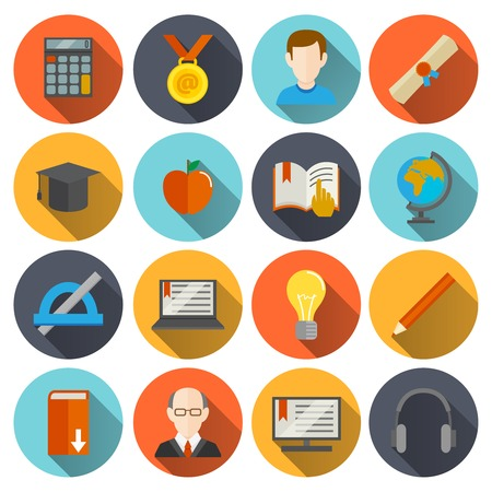 Education school university e-learning flat long shadow  icons set with science elements isolated vector illustration