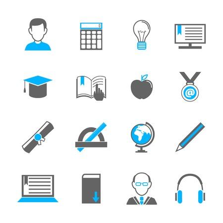 teacher student: Iconos de e-learning Educaci�n universitarios escuela conjunto de aislados profesor estudiante diploma de graduaci�n ilustraci�n vectorial