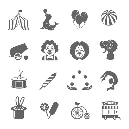 circus caravan: Circus graphic pictograms of juggling sealion acrobat stunt collection black icons set isolated vector illustration