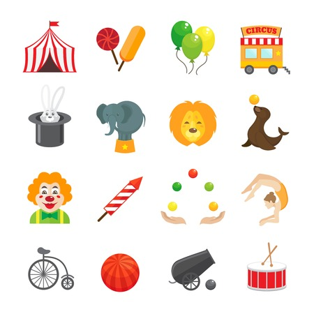 entertainment tent: Circus caravan rabbit elephant tricks and magical hat hocus pocus performance funny color icons set isolated vector illustration