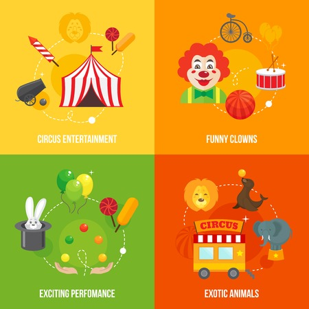 circus caravan: Four retro travel circus funny clown entertainment performance with exotic animals icons composition concept flat vector illustration