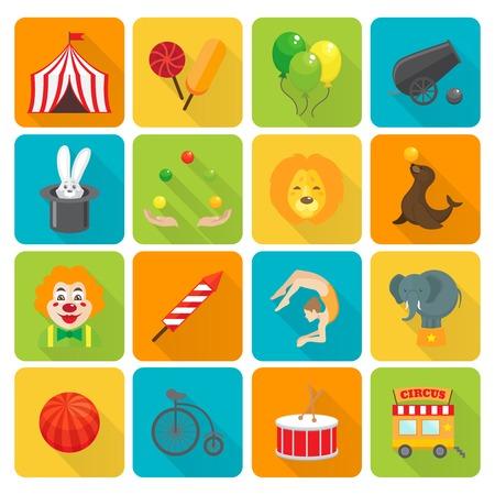 circus caravan: Funny smiling circus clown juggling with balls and magic hat rabbit focus flat isolated vector illustration
