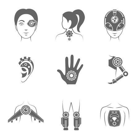 Human robot futuristic digital body parts black icons set  isolated vector illustration Vector