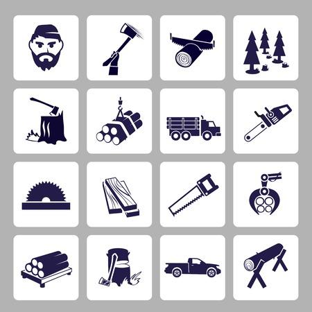 Iconos leñador Leñador conjunto de registro de madera vieron aislados de árboles ilustración vectorial