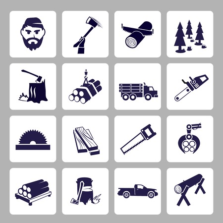 Lumberjack woodcutter icons set of wood log saw tree  isolated vector illustration