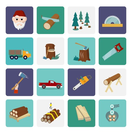 deforestation: Lumberjack woodcutter flat icons set of wood timber industry isolated vector illustration