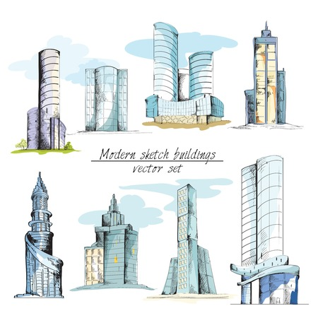 urban building: Modern urban sketch building with architectural elements isolated vector illustration Illustration