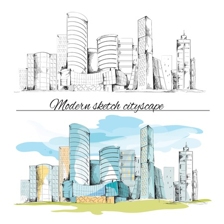 modern: Modern urban sketch building hand drawn cityscape set vector illustration