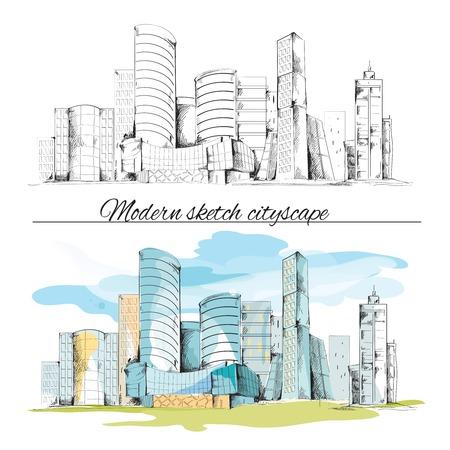 Modern urban sketch building hand drawn cityscape set vector illustration
