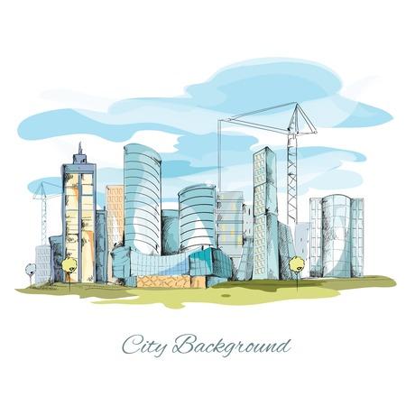 건물 도시 벡터 일러스트와 함께 현대 도시 스케치 도시 배경