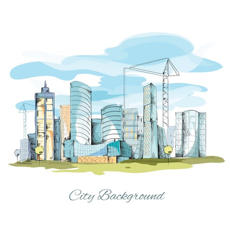 Modern urban sketch city background with building cityscape vector illustration