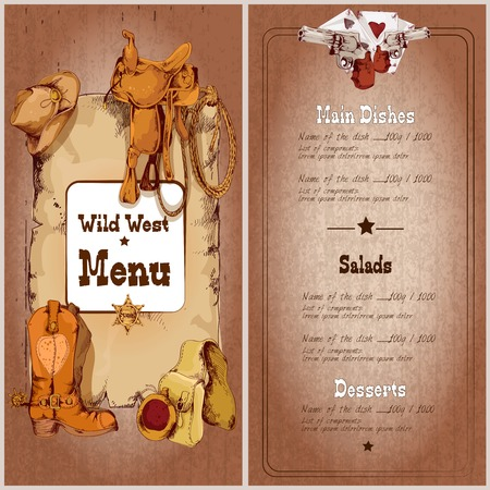 main dishes: Wild plantilla de men� de un restaurante al oeste con elementos de vaquero ilustraci�n vectorial Vectores