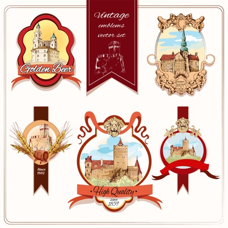 Old city buildings hand drawn decorative colored emblems set isolated vector illustration Vector