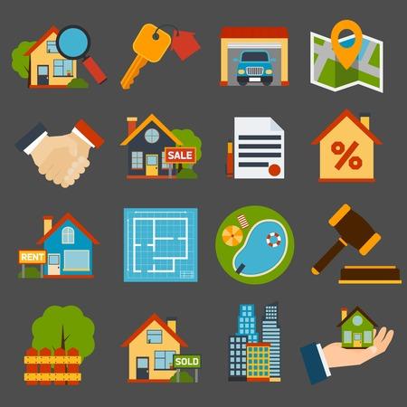 Onroerend goed iconen set van geïsoleerde huissleutel garage zwembad vectorillustratie