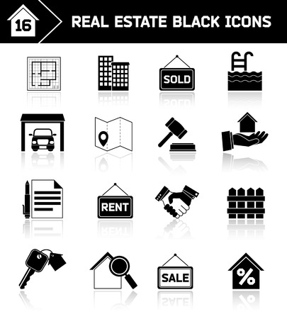 Real estate black icons set of house plan apartment valuation and choosing isolated vector illustration Vector