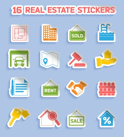 commercial real estate: Real estate stickers set of commercial residential property elements isolated vector illustration Illustration