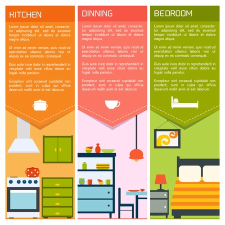 indoor garden: House interiors banners with kitchen dining bedroom isolated vector illustration