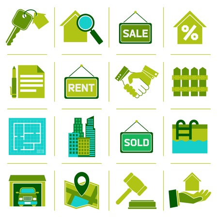 valuation: Real estate green icons set of property rent commercial management isolated vector illustration Illustration